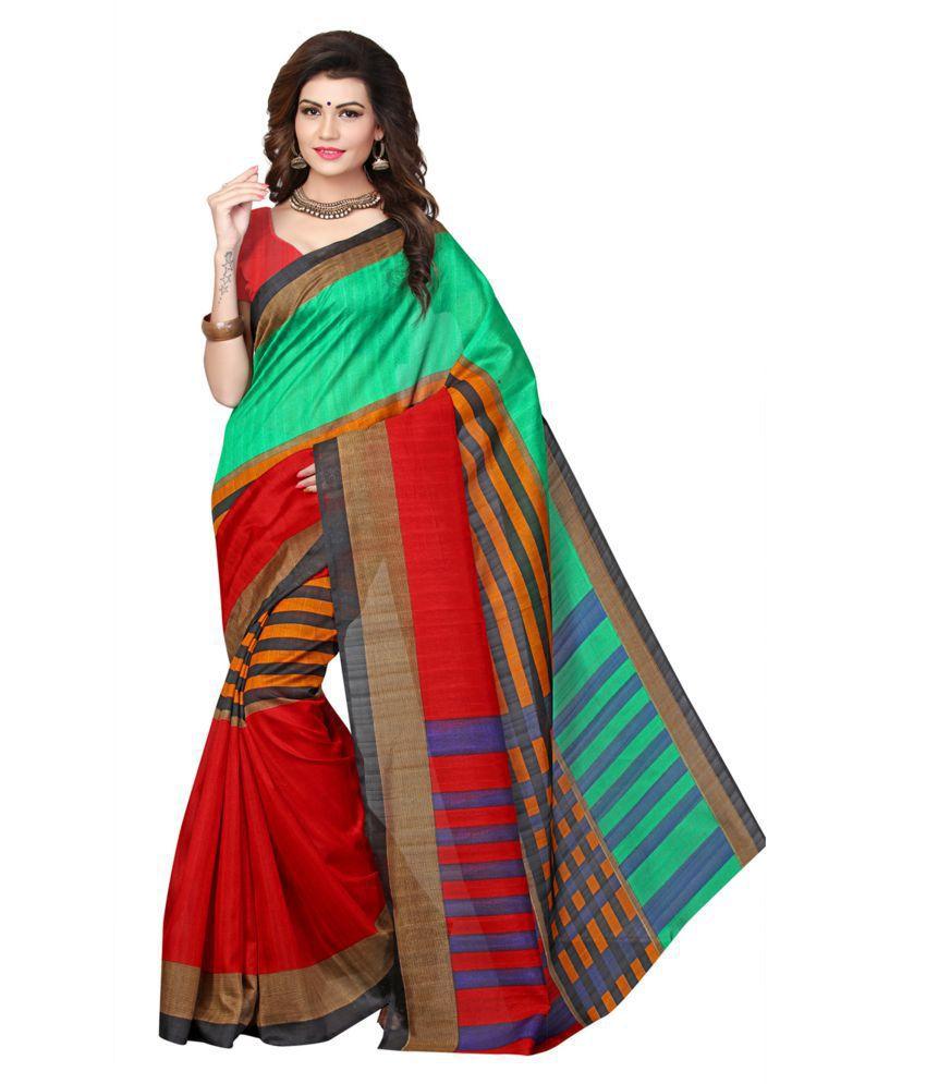 KUHUDI Green and Red Bhagalpuri Silk Saree
