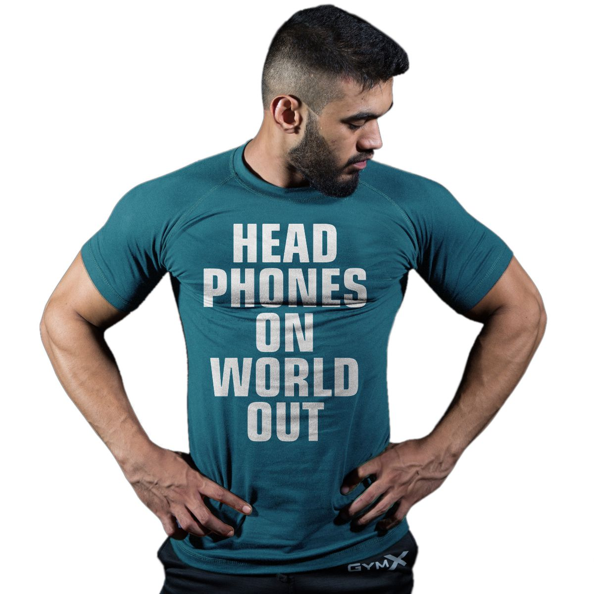 GymX Mens  Blue Headphones On World Out: Classic Tee