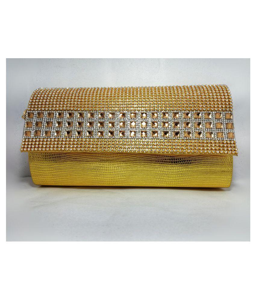 Ratan's Gold Faux Leather Box Clutch