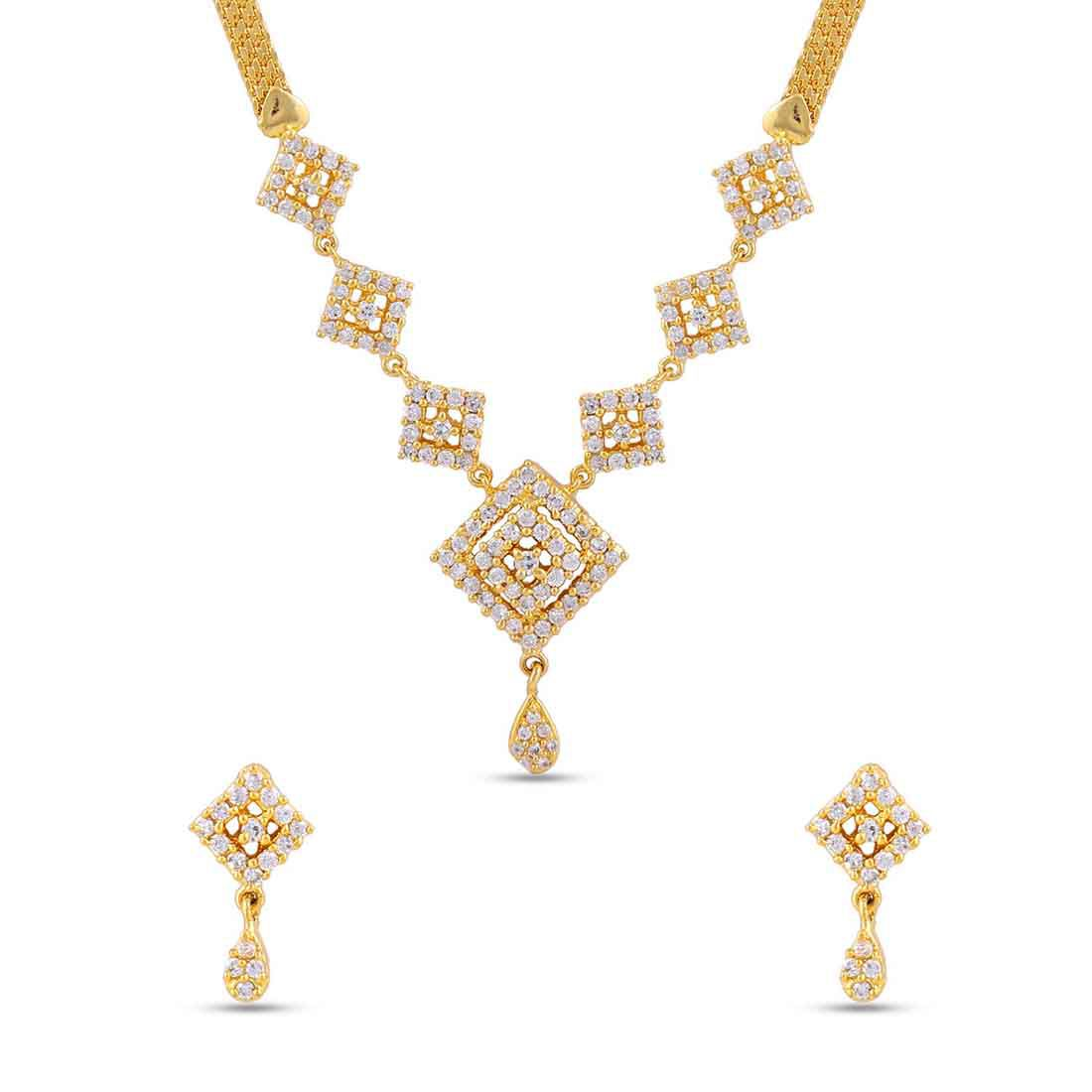 Maalyaa (Brand of Kalyani Covering) Brass Ad Necklace Set for Women & Girls