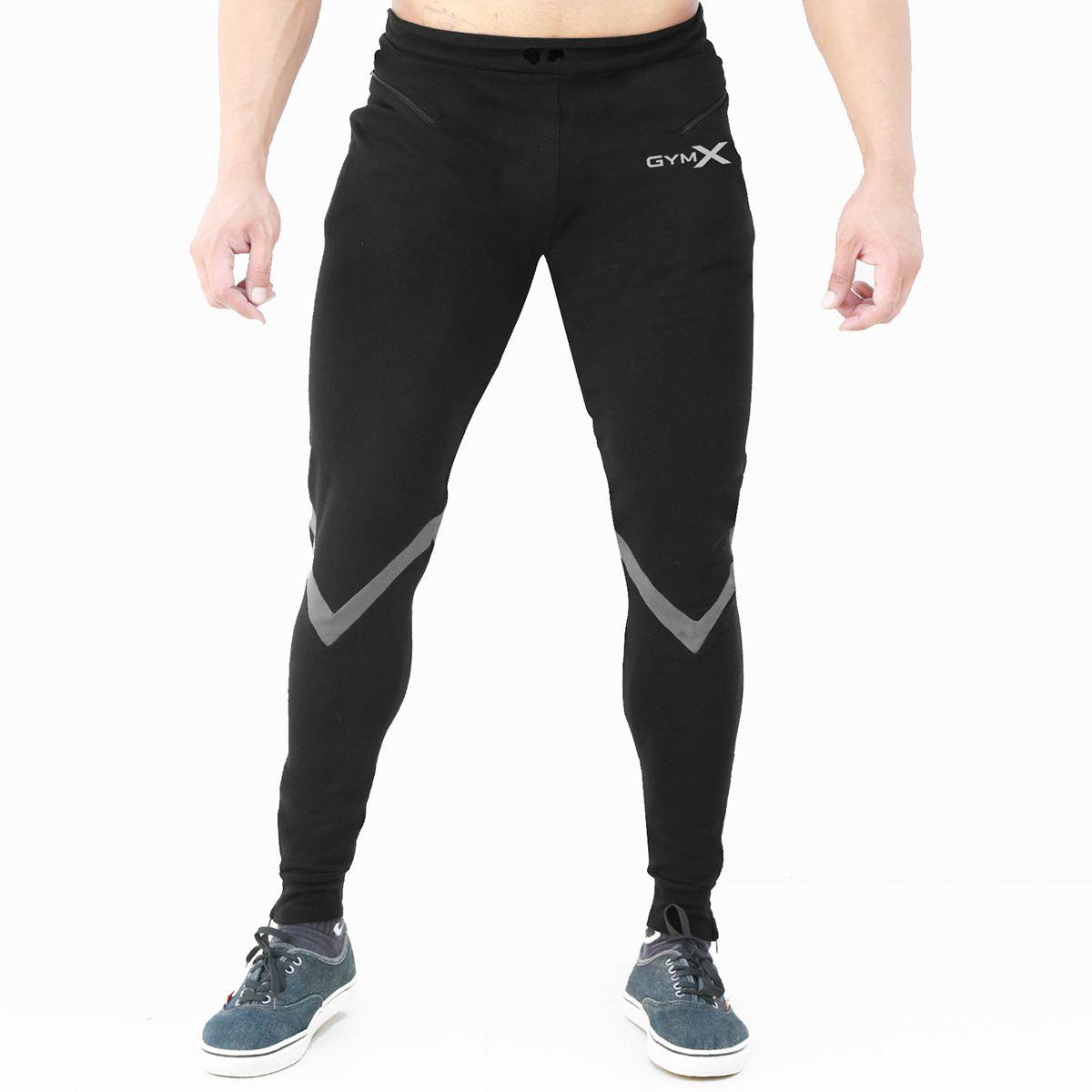 GymX Mens Valour Iconic Black Sweatpants (Flex Fit) (Size:XX-Large)