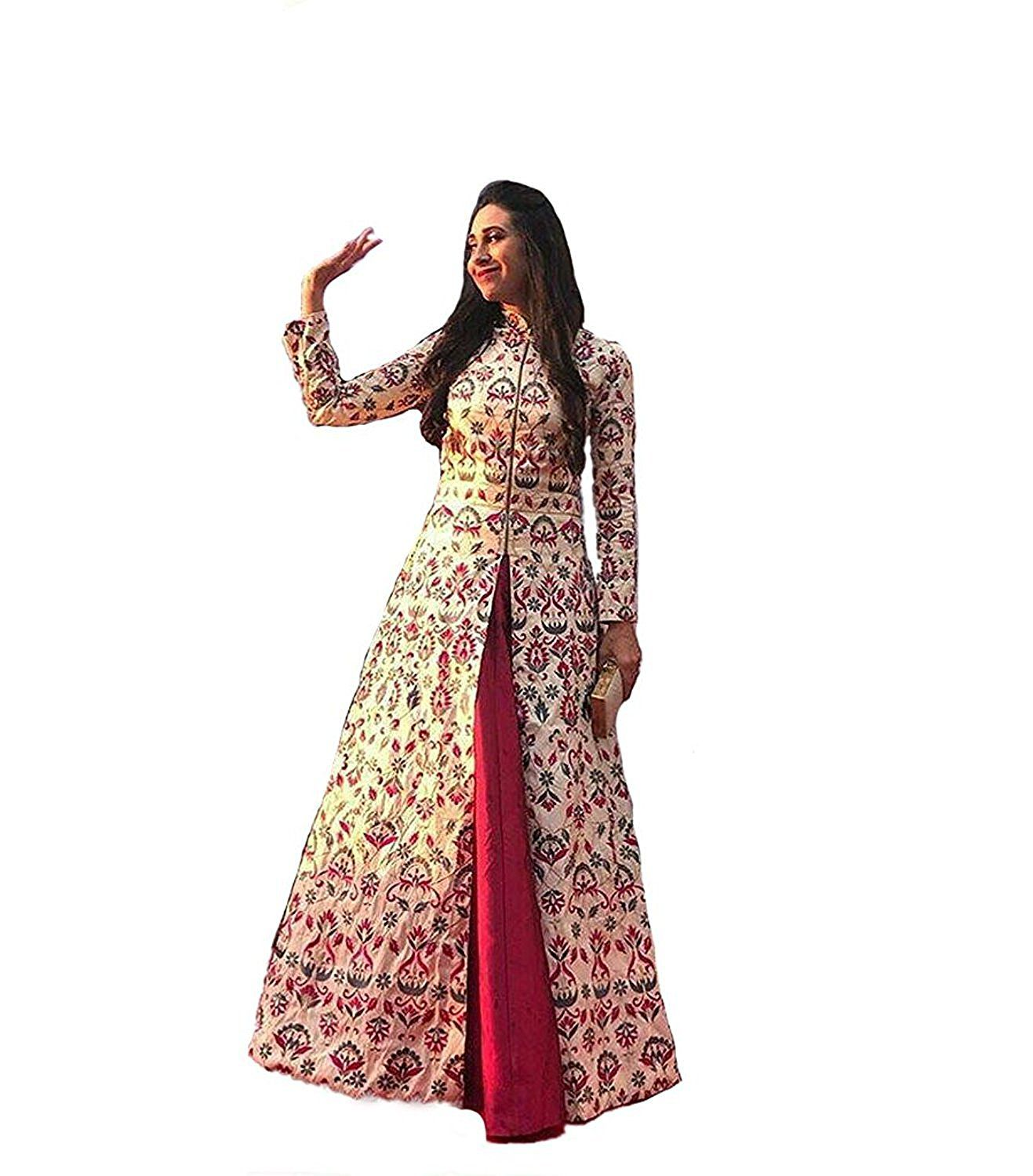 Limbudi creation Pink Bangalore Silk Anarkali Gown Semi Stitched
