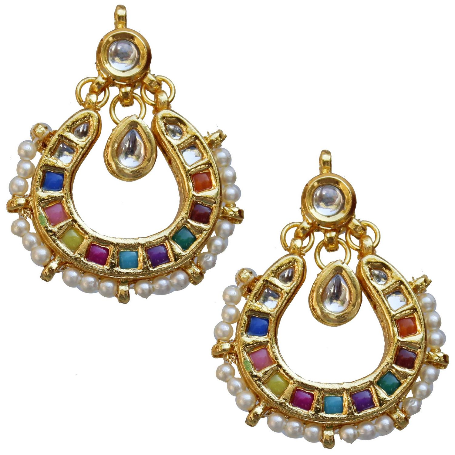 Lucky Jewellery Designer Multi Color Back Meenakari Kundan Earring For Girls & Women