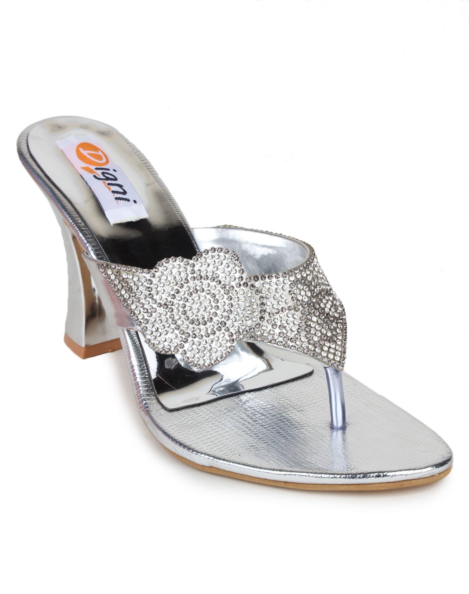 DIGNI Silver Block Heels