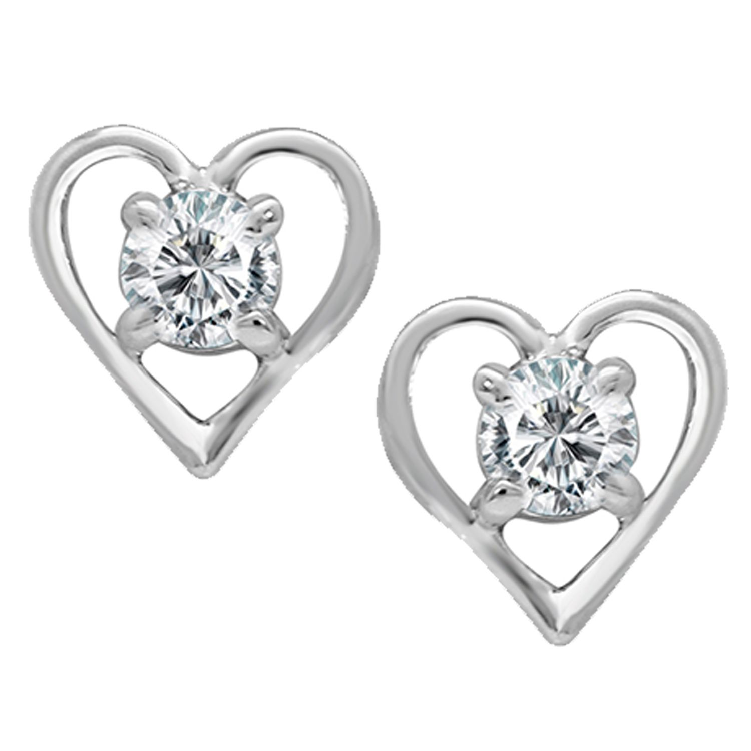 Mahi Rhodium Plated Valentine collection heart Cubic Zirconia Earrings ER1193703R