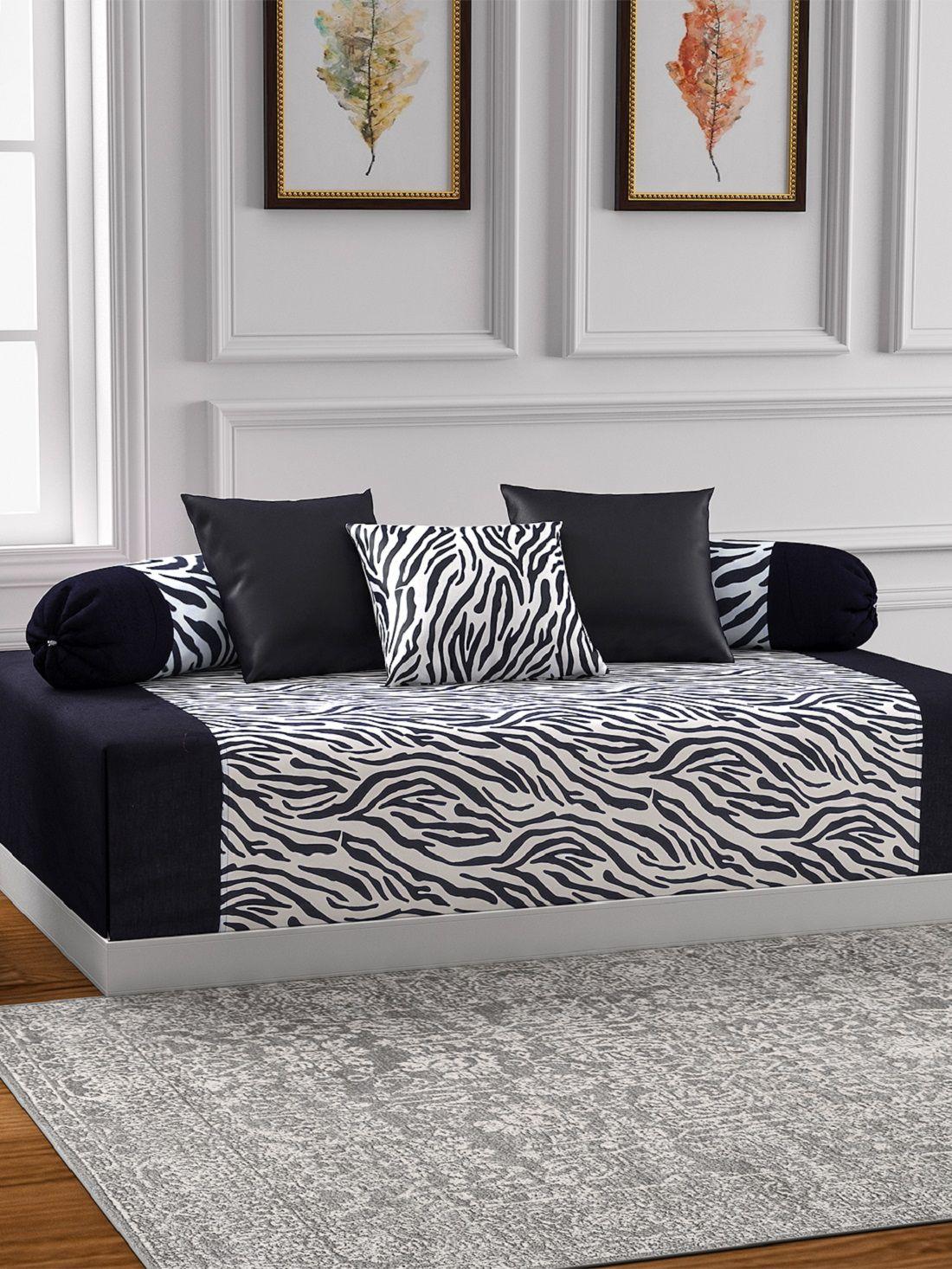 Swayam Cotton Black Abstract Diwan Set 6 Pcs