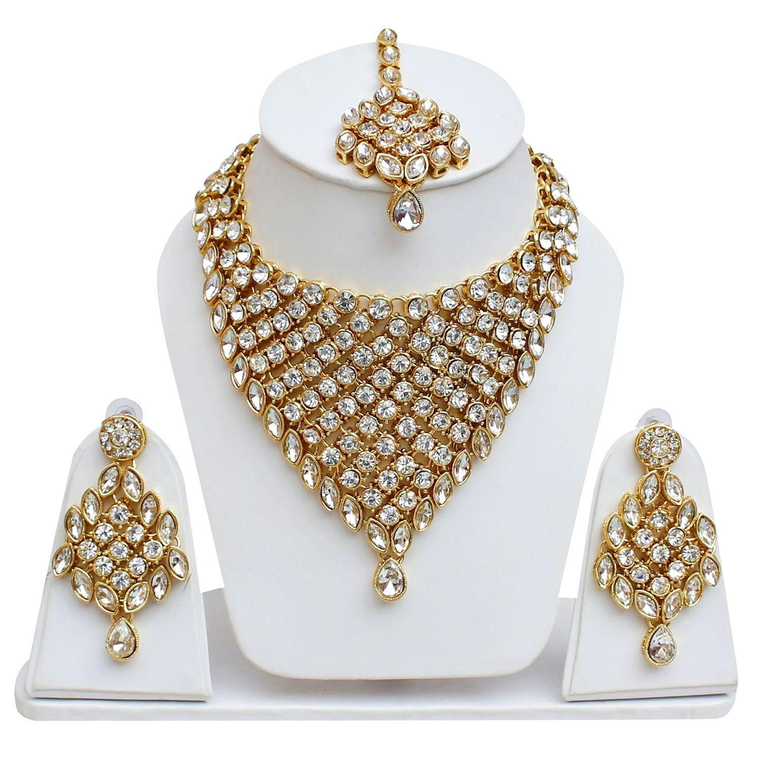 LUCKY JEWELLERY Alloy White Designer Gold Plated Necklaces Set