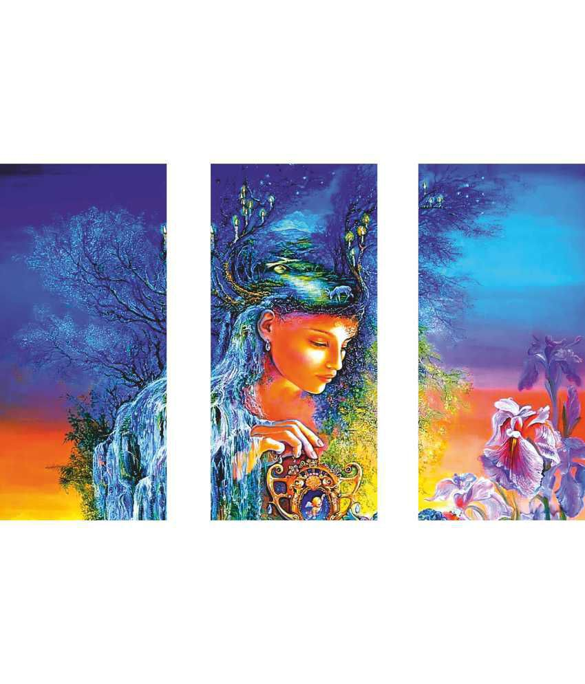 Anwesha's Girl Modern Art 3 Frame Split Effect Digitally Printed Canvas Painting With Frame