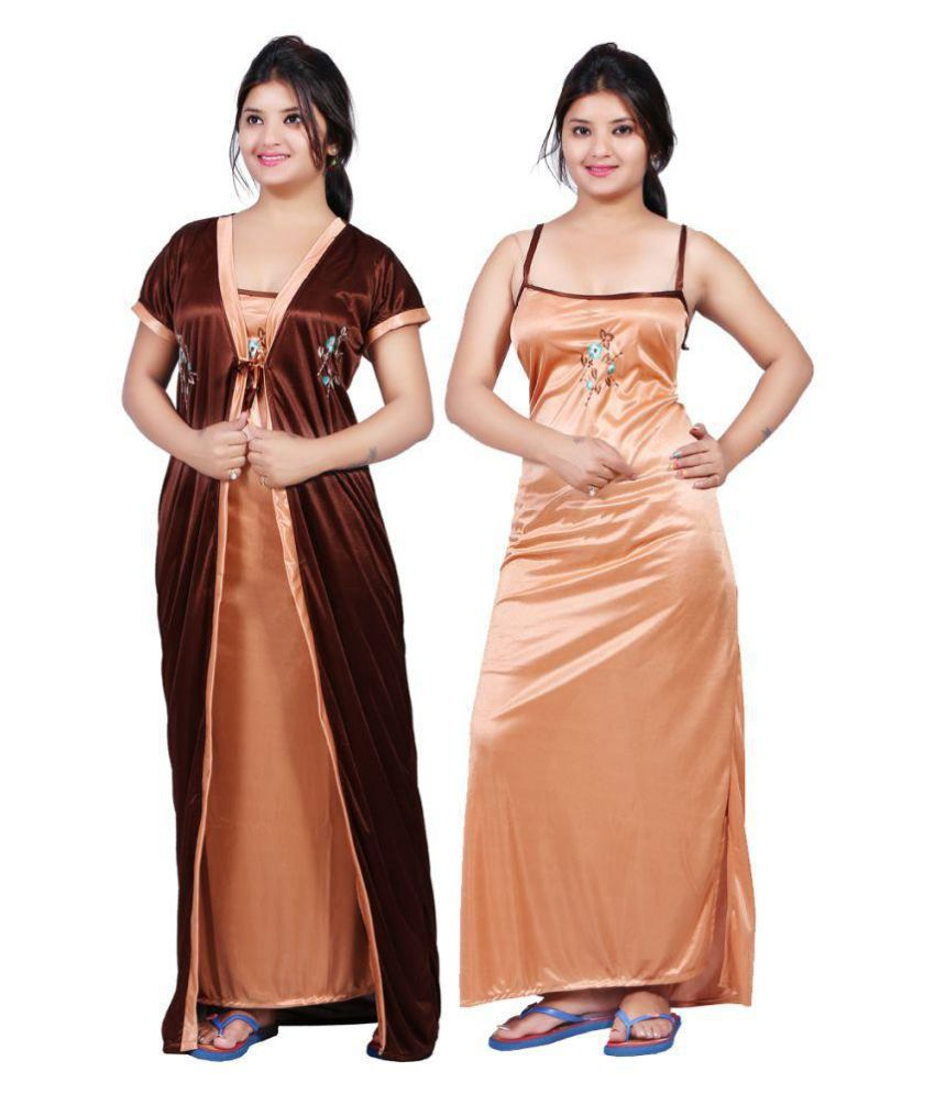 Buy Bailey Satin Nighty & Night Gowns - Brown Online at Best Prices ...