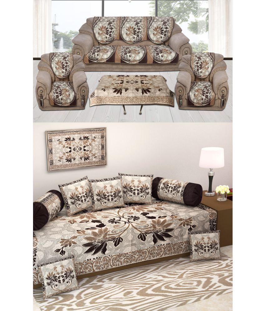 laying style 5 seater jacquard set of 19 sofa cover set diwan set rh snapdeal com