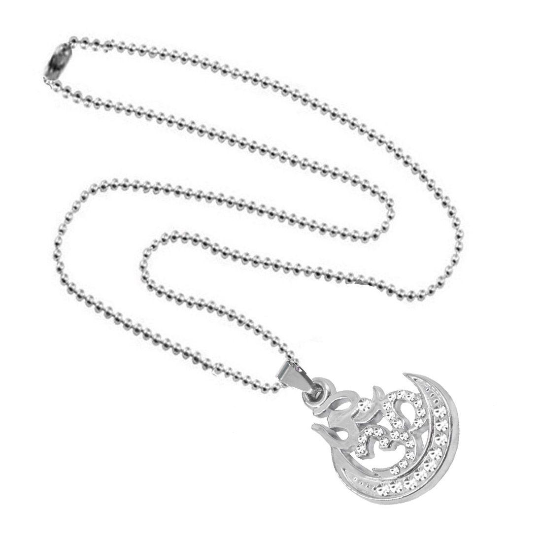 Shiv Jagdamba Religious Jewellery Crescent Moon Cubic Zirconium OM Trishul locket With ChainFor Men Boys