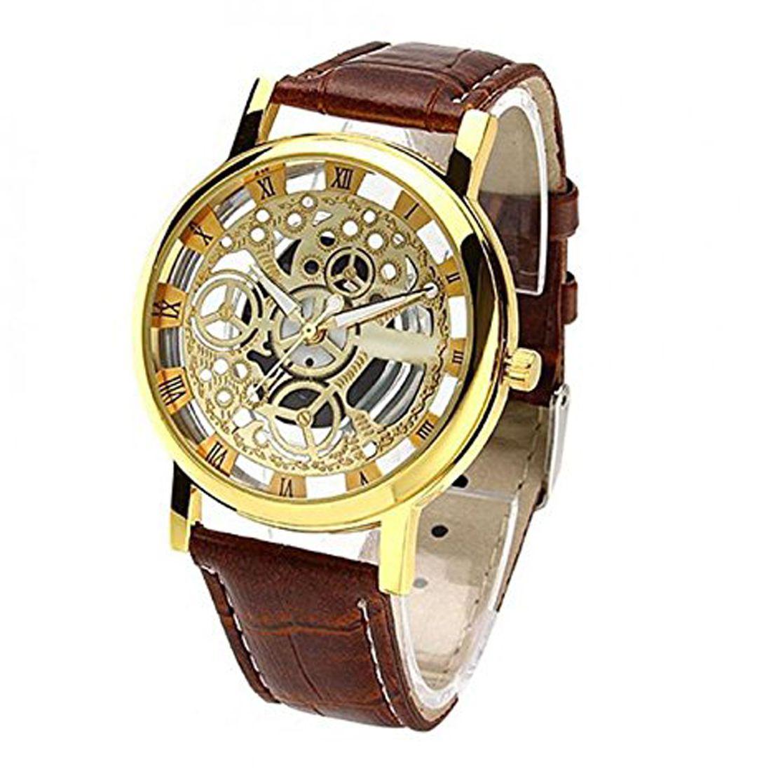 Satva The Brand Brown Leather Strap Gold Dial Transperant Designer Watch For Men Boys