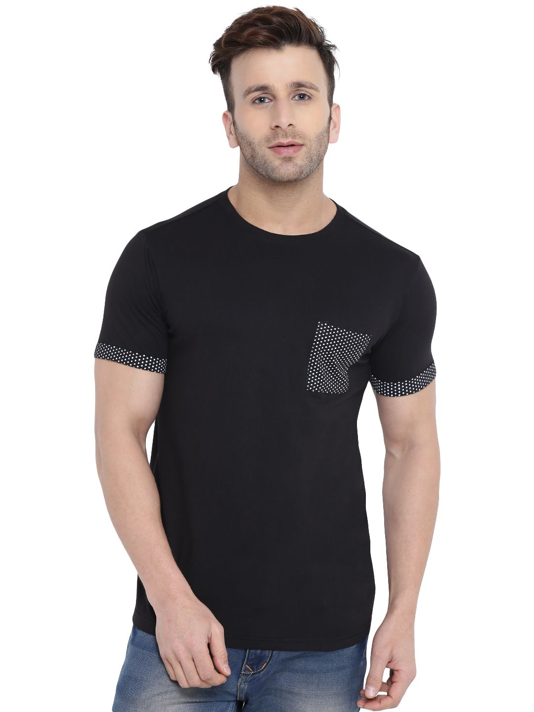 Gritstones Black Round T-Shirt Pack of 1