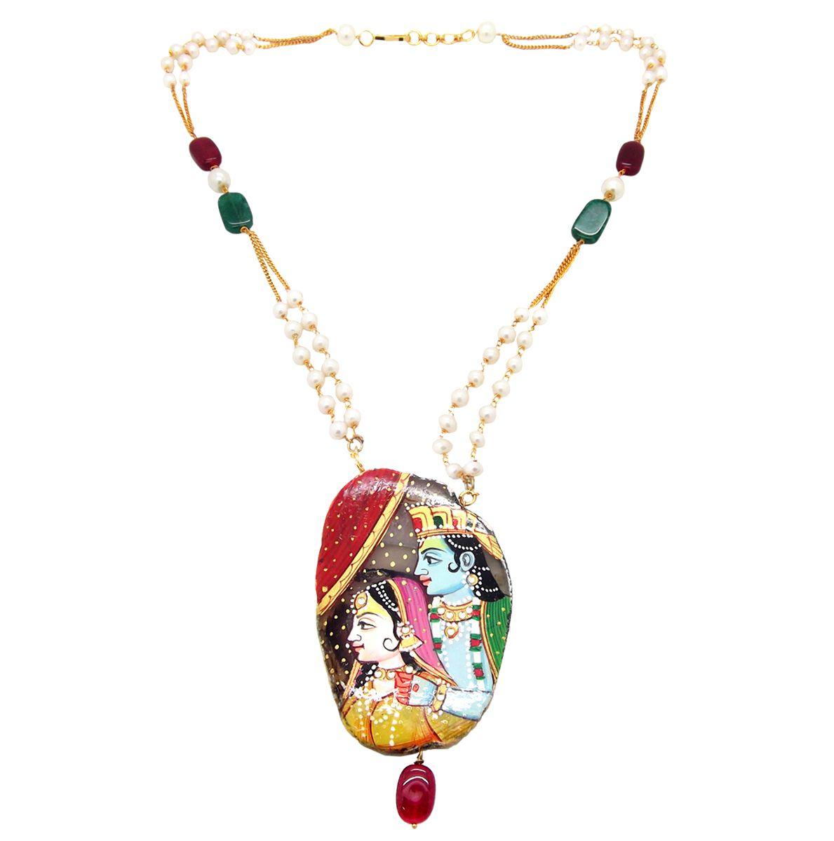 9blings Radha Krishna Handpainted Jaipuri Pearl Necklace Chain