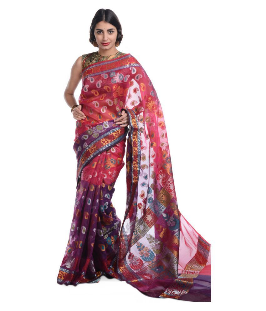 Bunkar Pink Cotton Saree