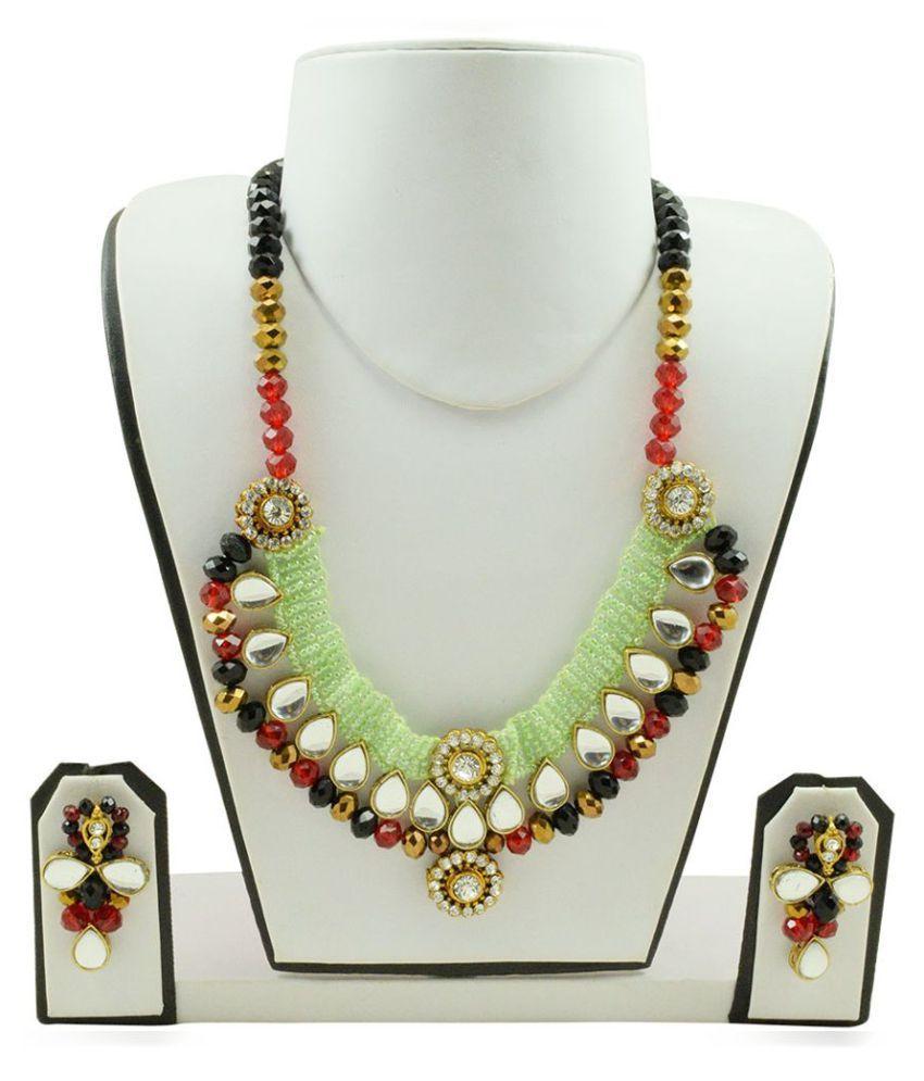 Fashionvalley Designer Jeko Moti, Crystal Beads Kundan Necklace Set for Women
