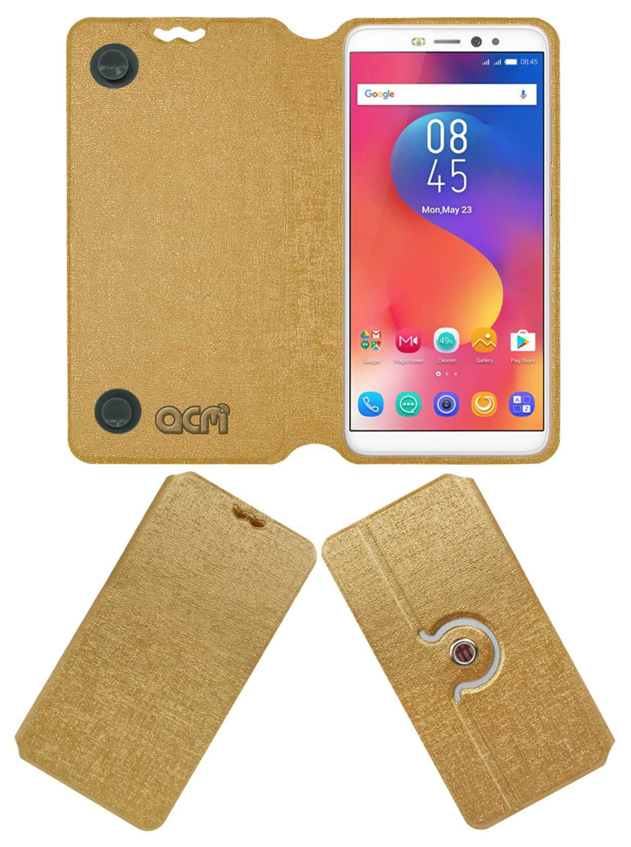 Infinix hot S3 Flip Cover by ACM - Golden
