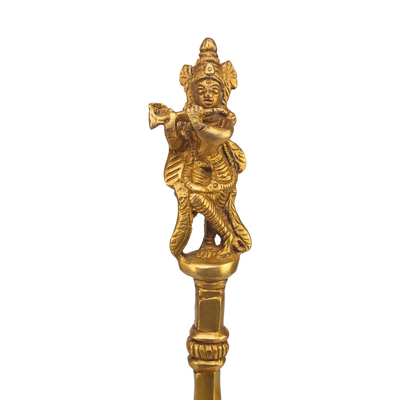 Kartique Brass Pooja Articles Krishna Achmani | Krishna Flute | Havan Pooja Spoon