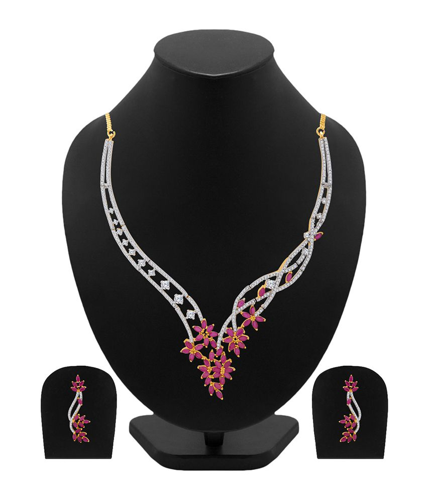 ac5c3be1a Voylla Glorious Ruby CZ Blooming Dales Necklace Set - Buy Voylla Glorious  Ruby CZ Blooming Dales Necklace Set Online at Best Prices in India on  Snapdeal