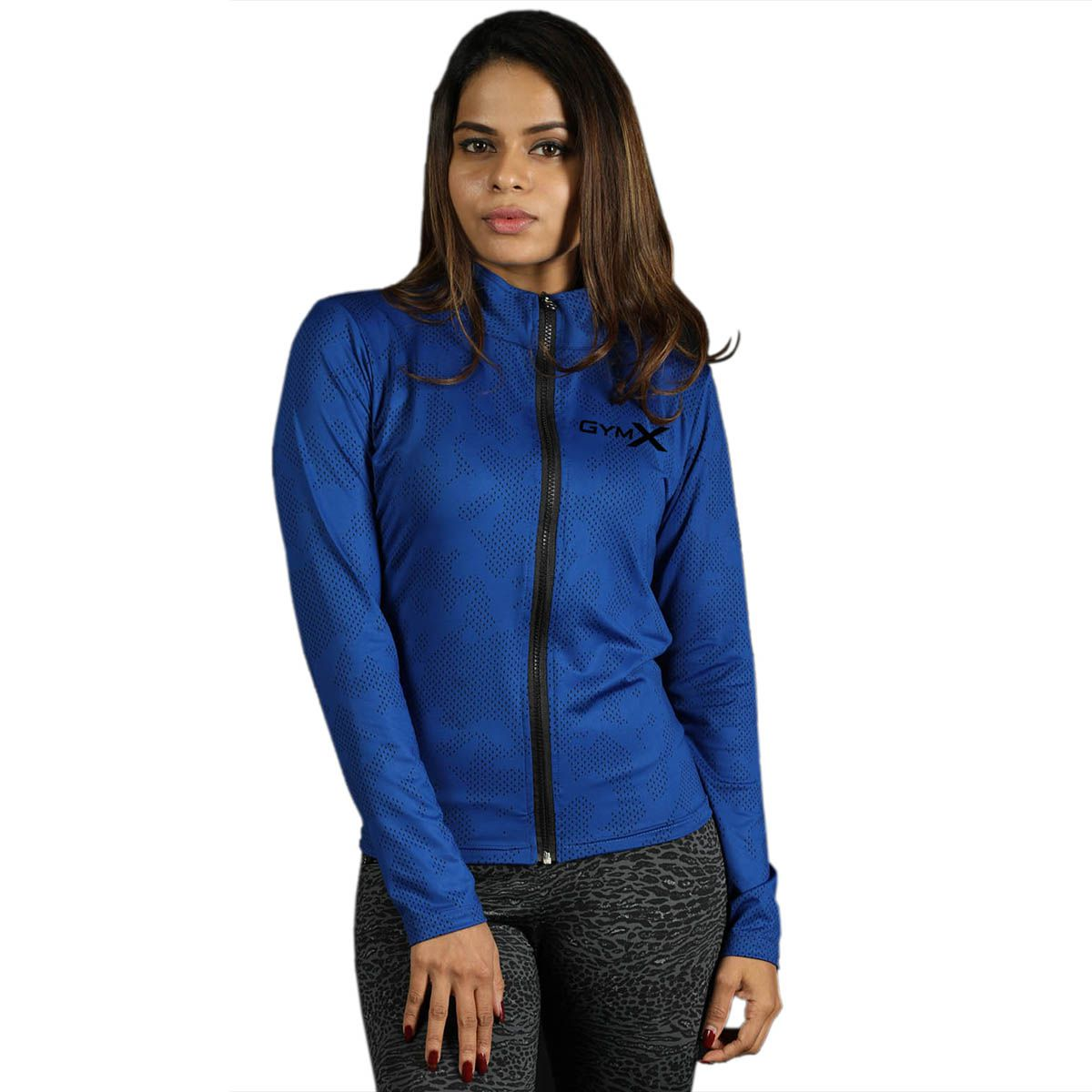GymX Womens Royal Blue Full Zip Jacket- Athena Series