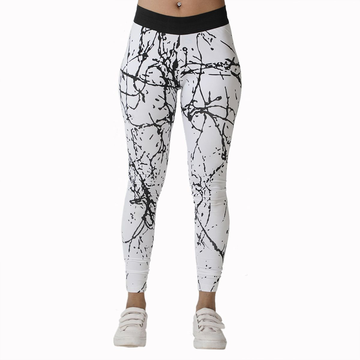 GymX Womens Polyester Sculpted Leggings- Marble Print