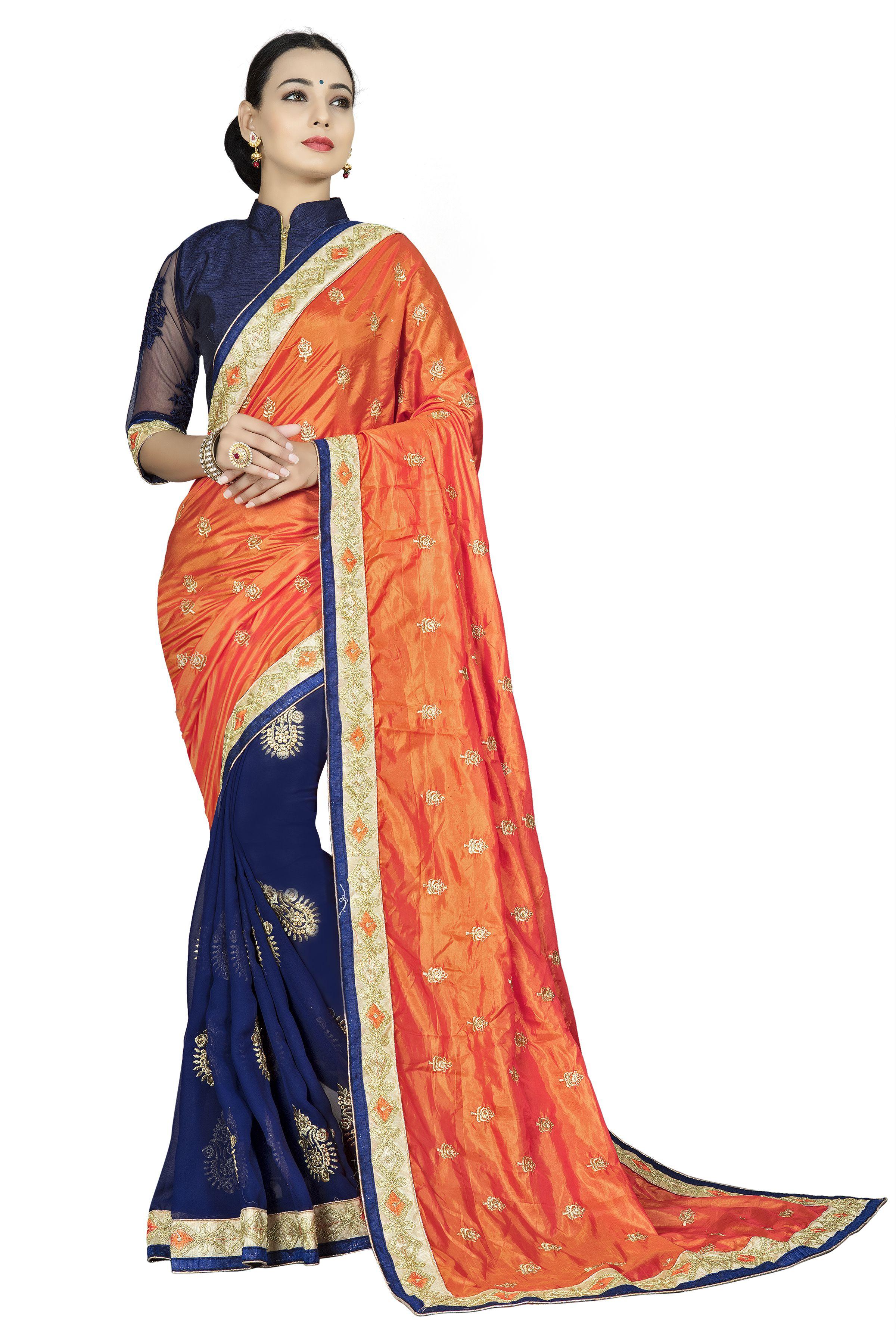 Aashvi Creation Orange Georgette Saree