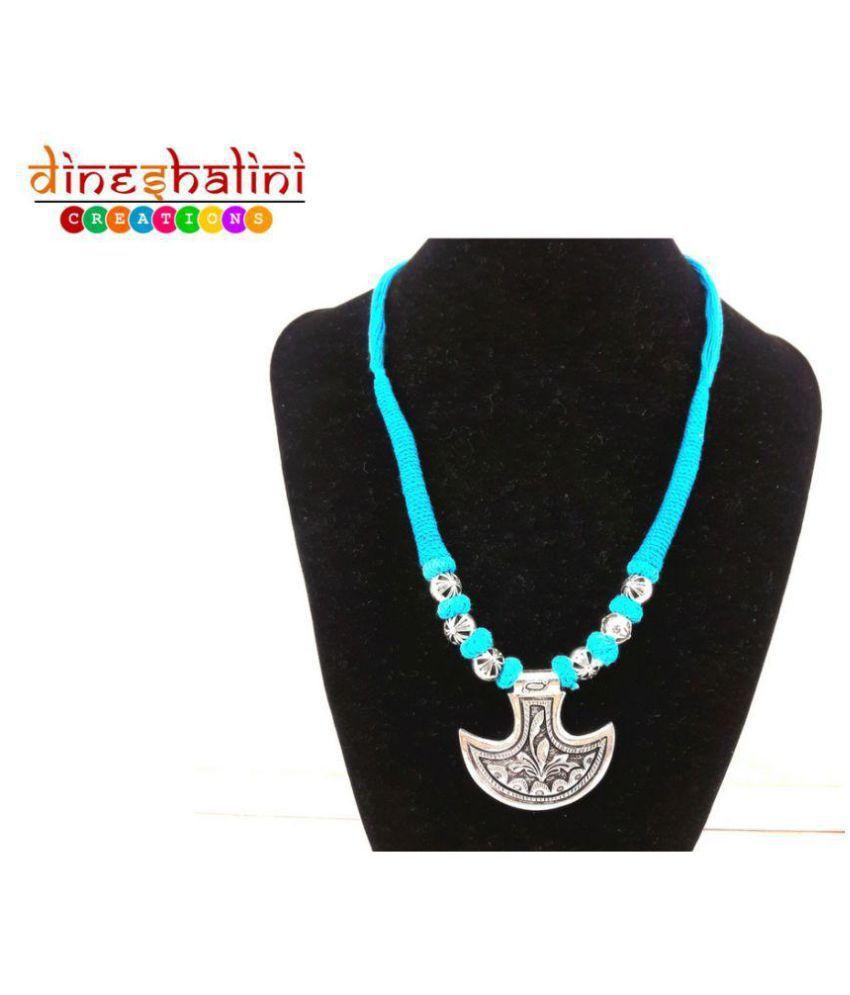 Dineshalini Creations Trendy Oxidised Turquoise Thread Necklace