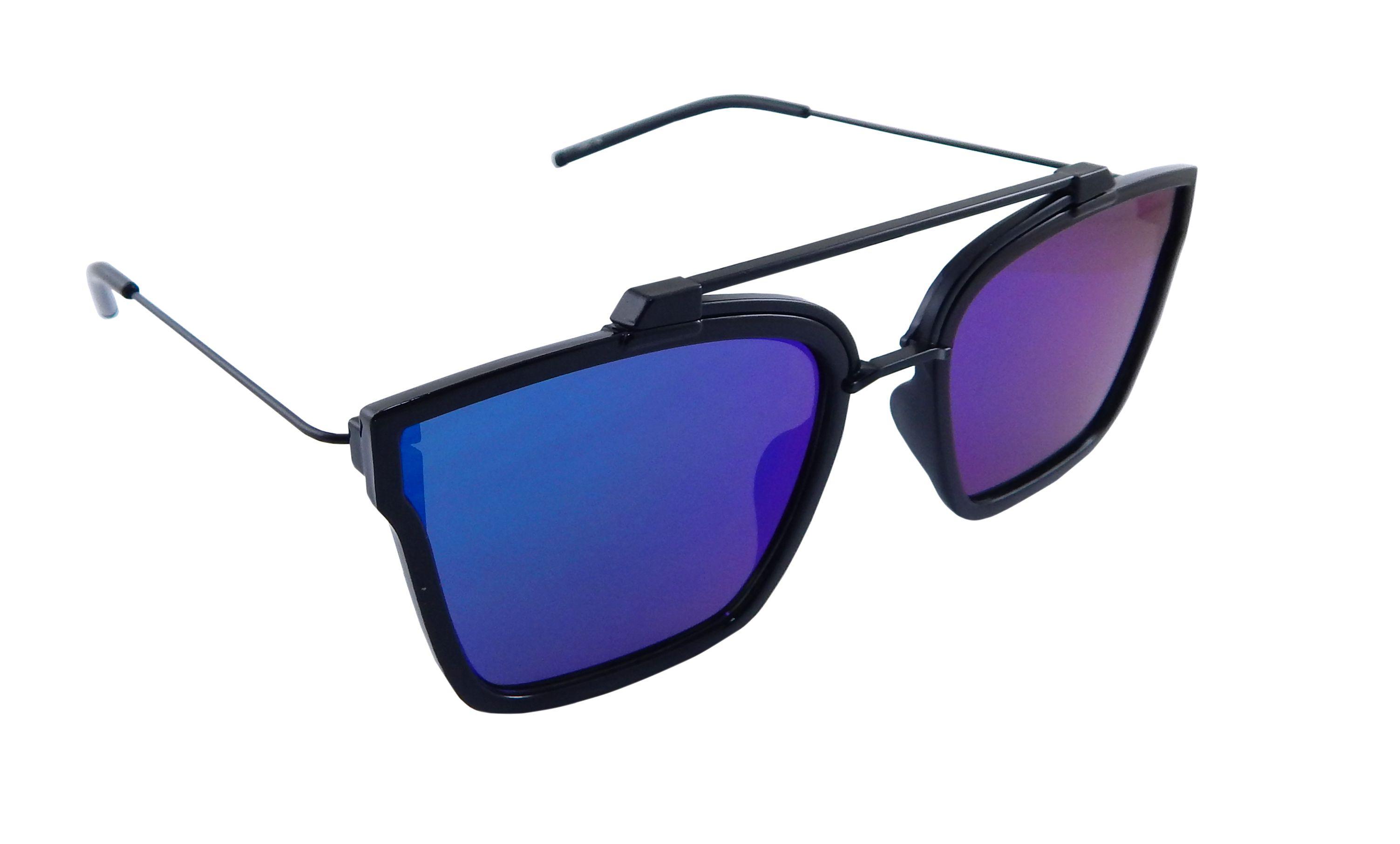 Els Multicolor Rectangle Sunglasses ( 53841-54-BLK-GRNBU-MR-S )