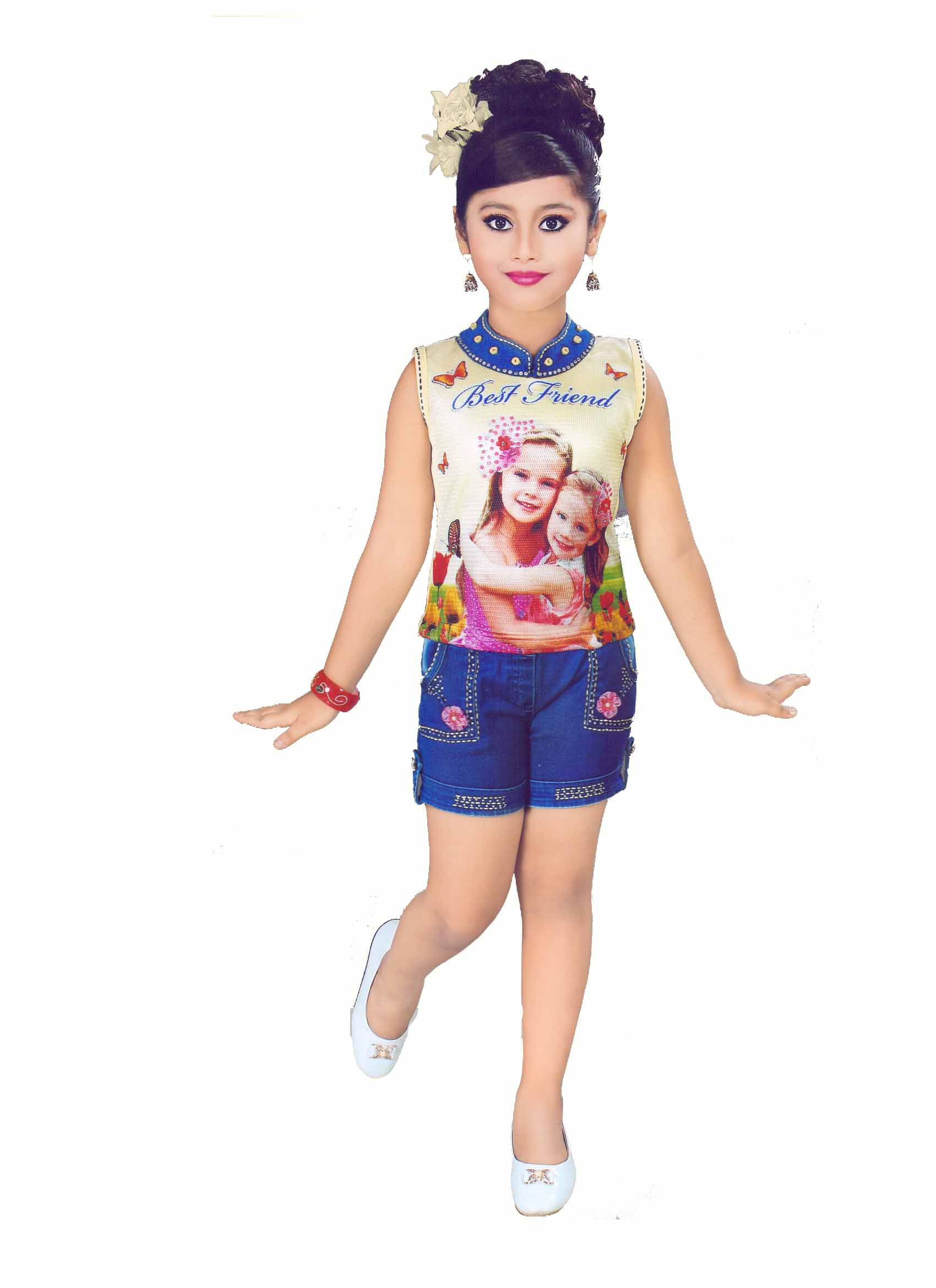 HEY BABY SUMMER SPECIAL SELF DESIGN TOP & BOTTOM COMBO FOR GIRLS