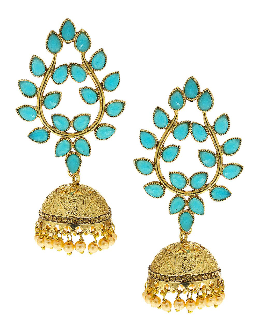 Anuradha Art Turquoise Colour Styled With Sparkling Stone & Pearl Beads Droplet Beautiful Traditional Jhumki/Jhumkas Earrings For Women/Girls