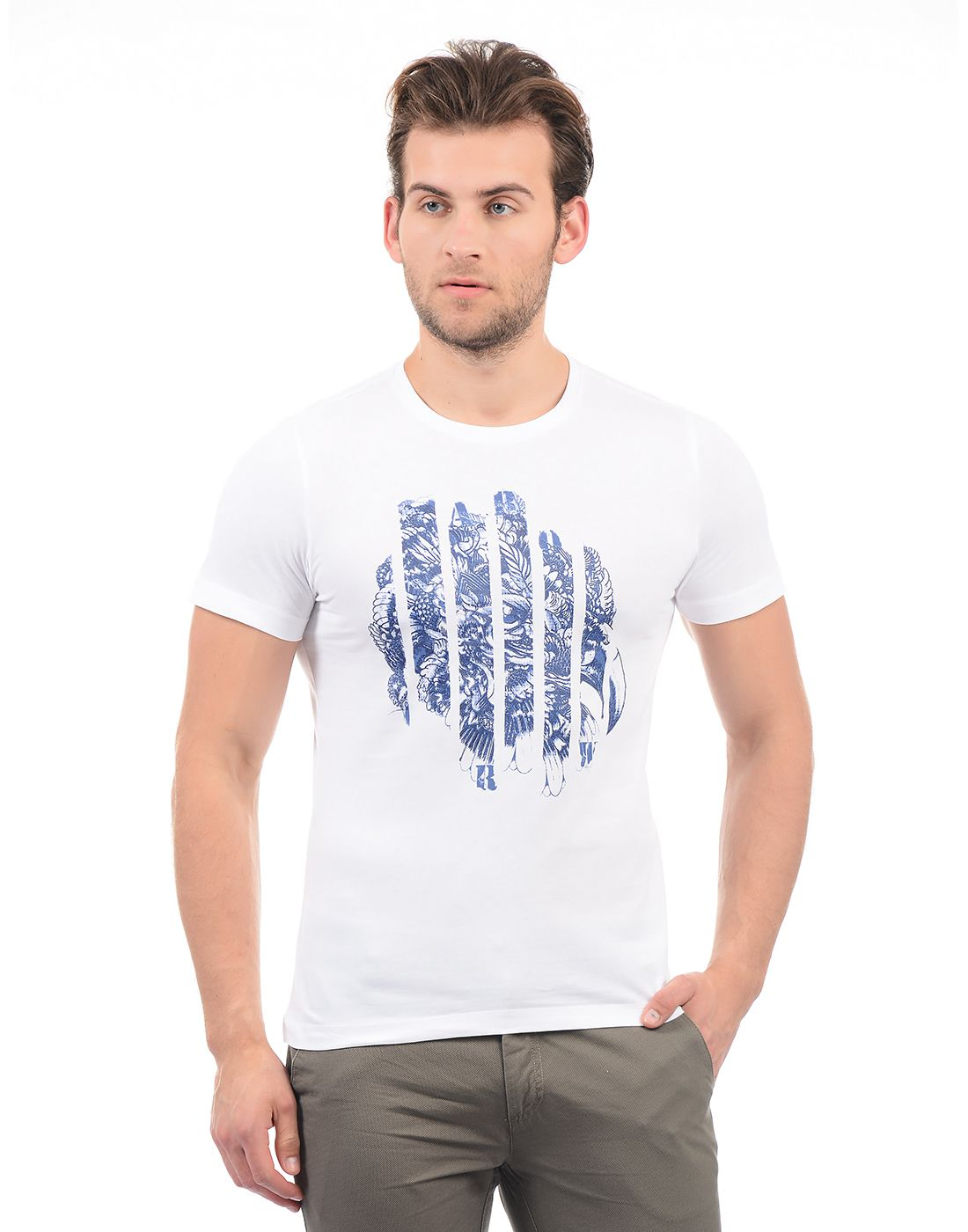Arrow Blue Jean White Round T-Shirt