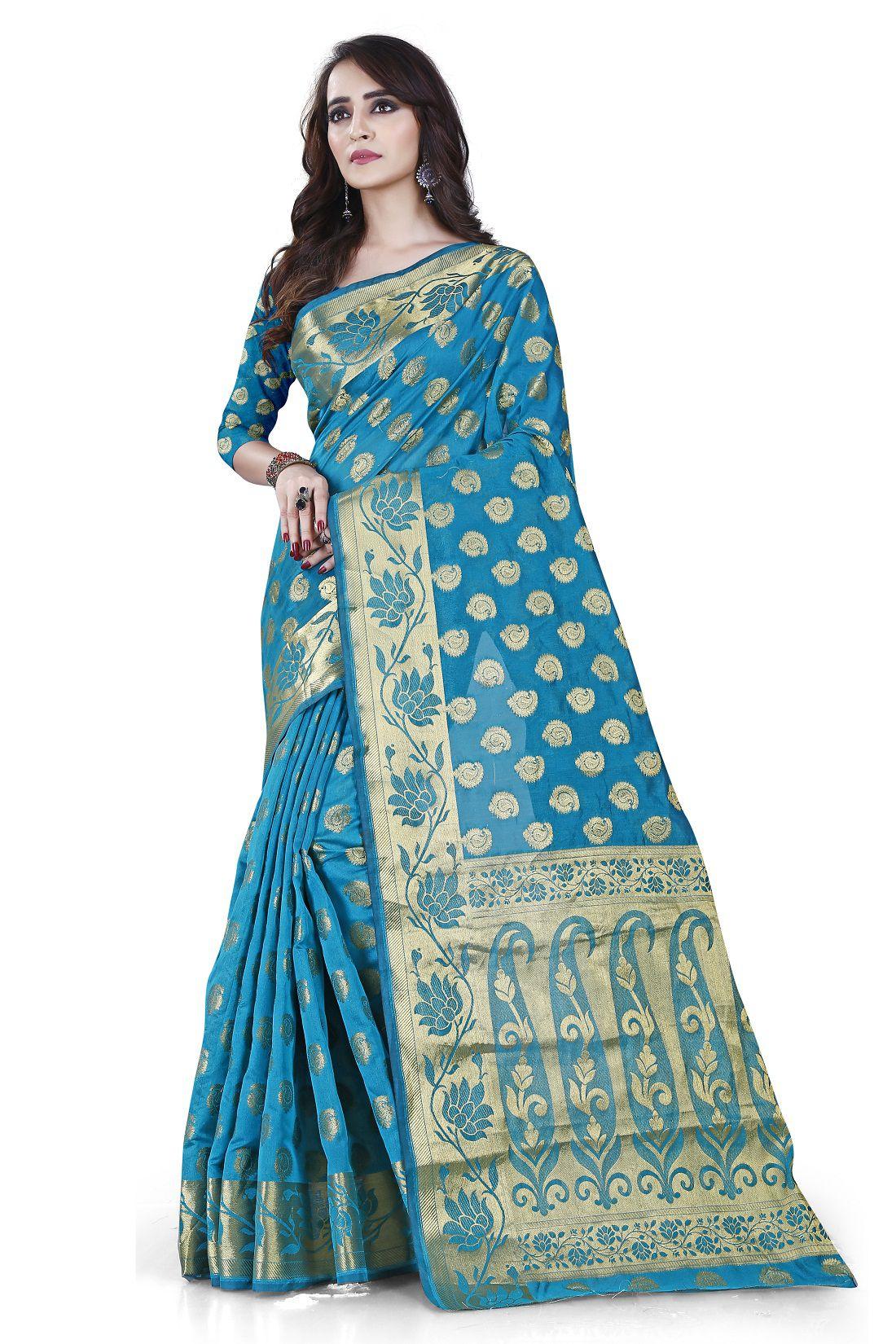 Balkrishna Texport Blue Art Silk Saree