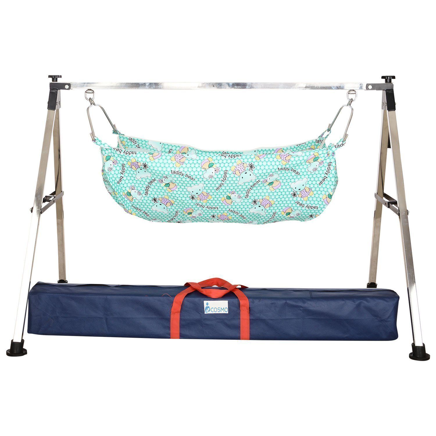 WESTTURN Indian Style Square Black Semi Folding Stainless Steel Cradle with Hammock