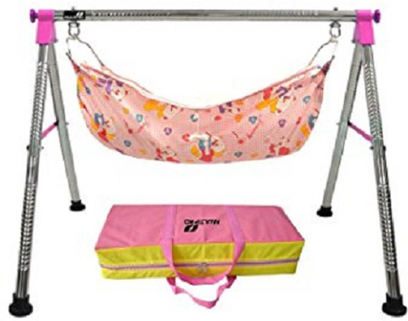 westturn Indian Style Fully Folding Stainless Steel Ghodiyu (Baby Cradle)  (Pink)