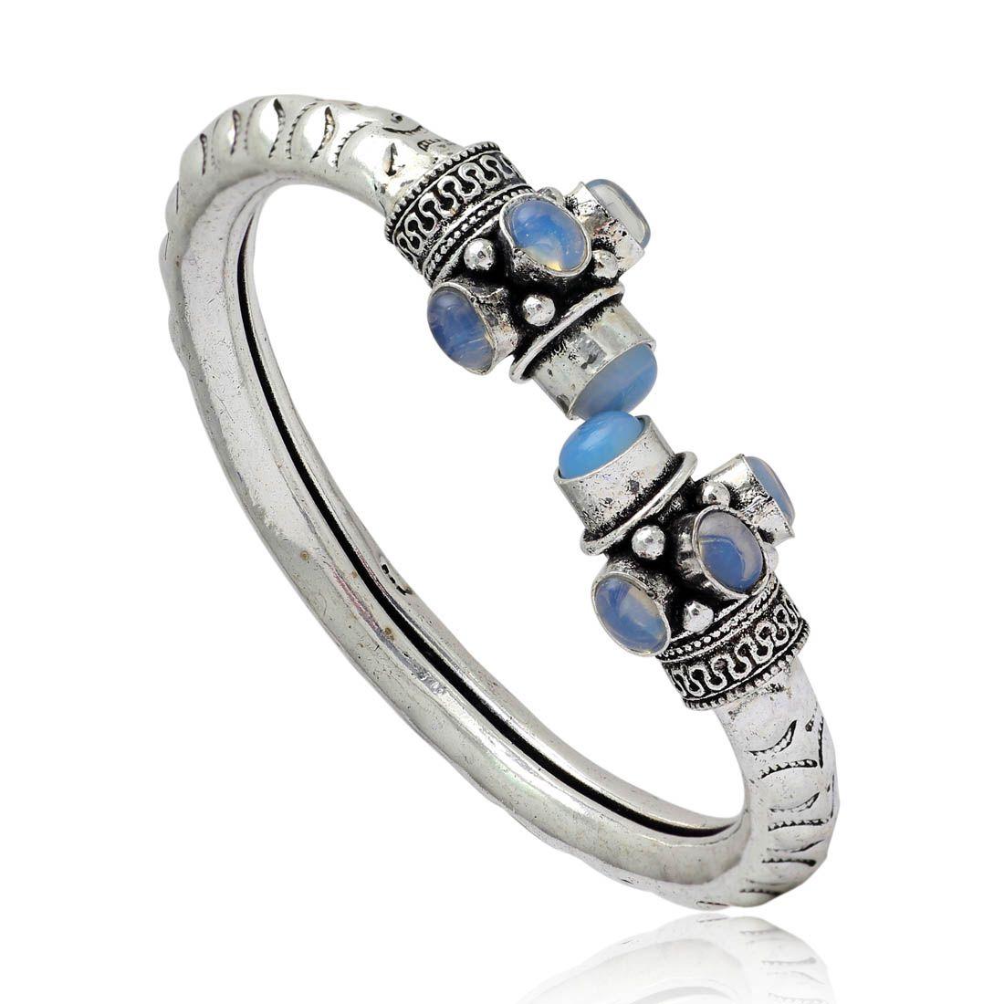 Aqua Color Oxidised Glass Stone Bracelets 1 Piece (GSB83AQUA)
