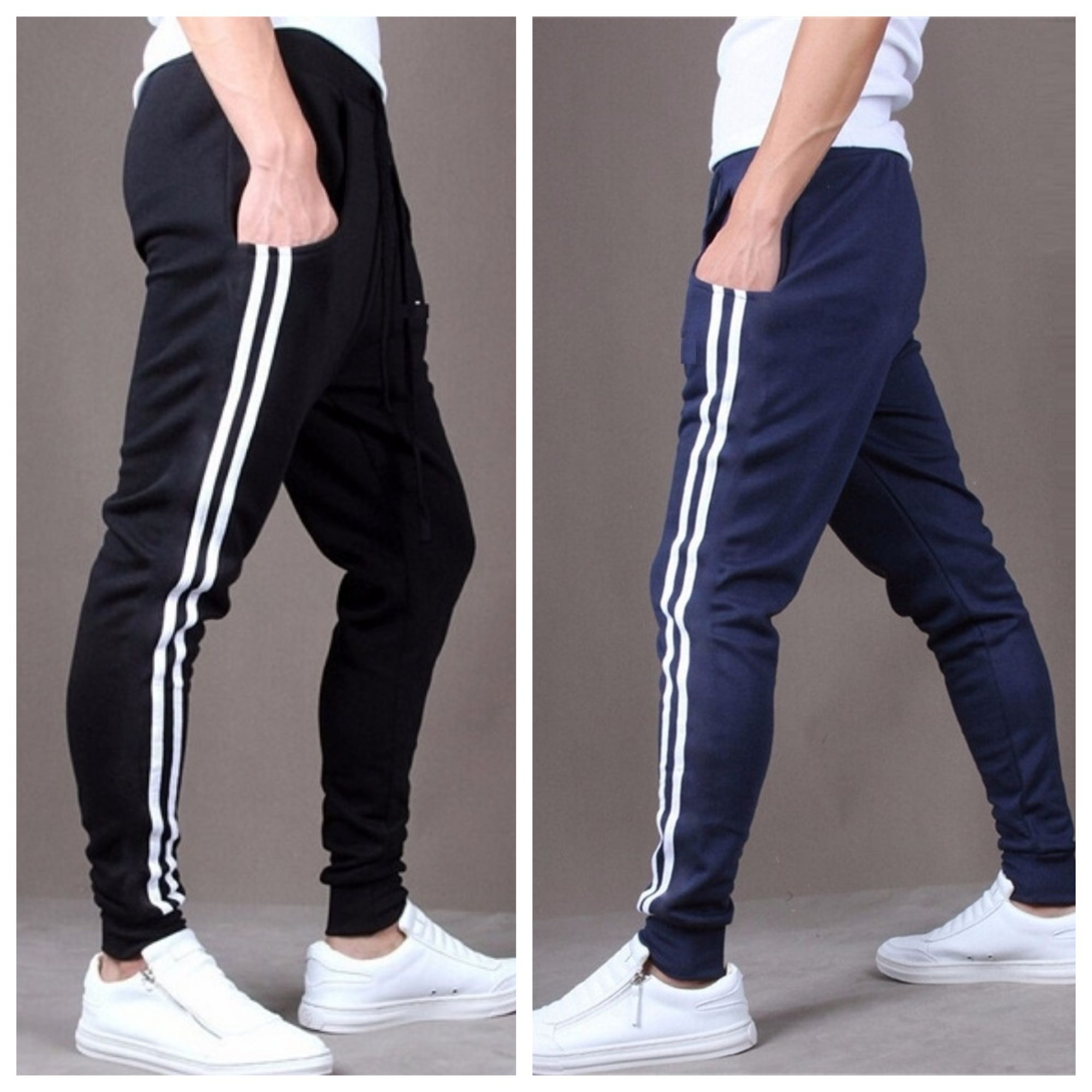8e65a4b0f8fec5 Joggers Park Combo Of 2 Men's Fashion Casual Skinny Sports Black Blue Track  Pants: Buy Online at Best Price on Snapdeal