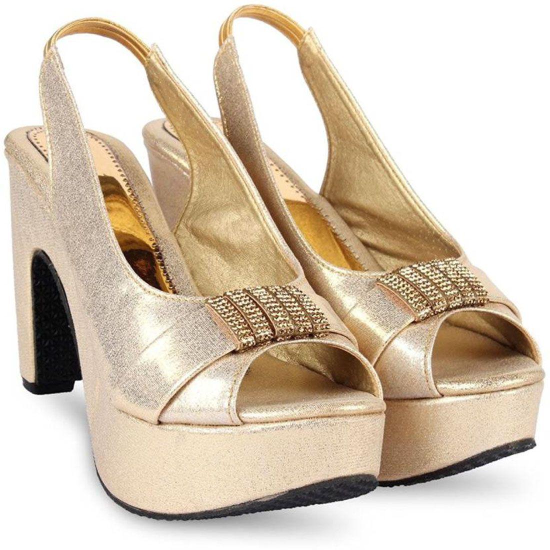 Radhika Gold Cone Heels