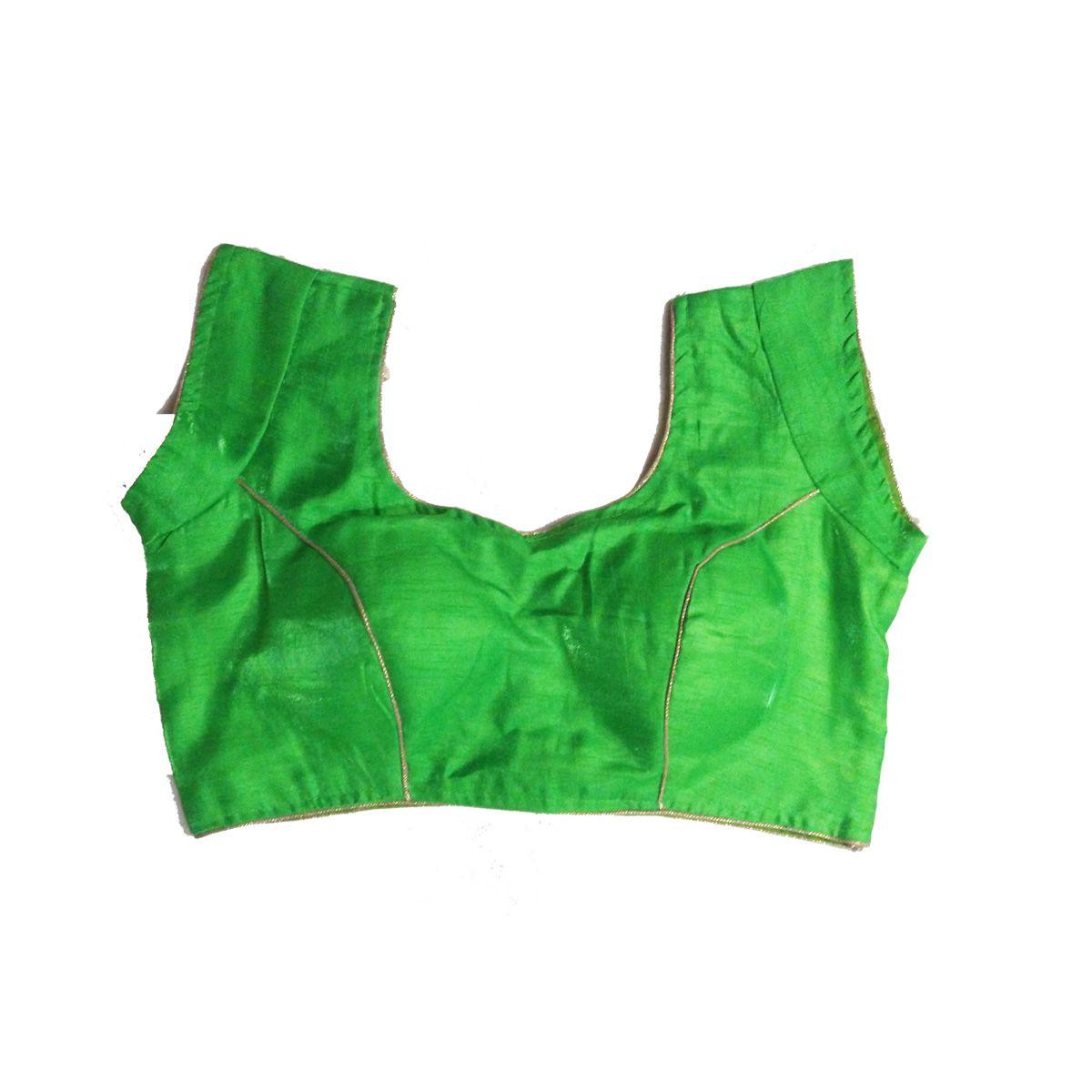 GreenViji Multicoloured Art Silk Readymade with Pad Blouse