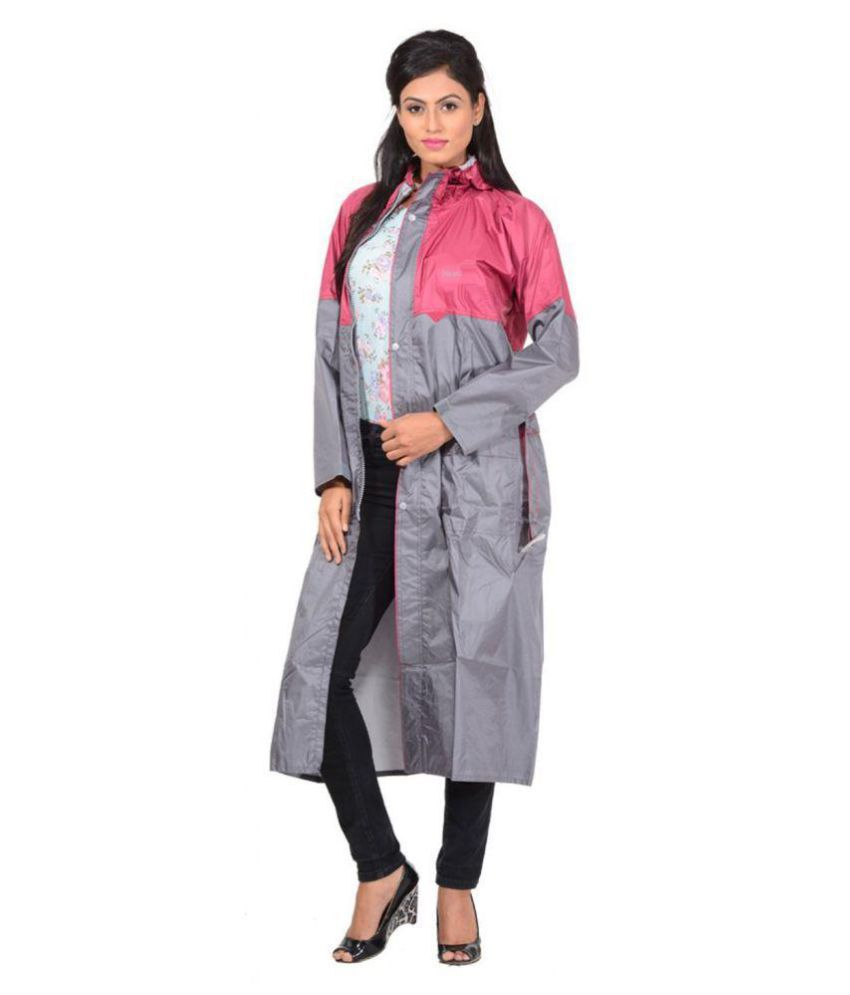 NiceG Polyester Long Raincoat - Grey