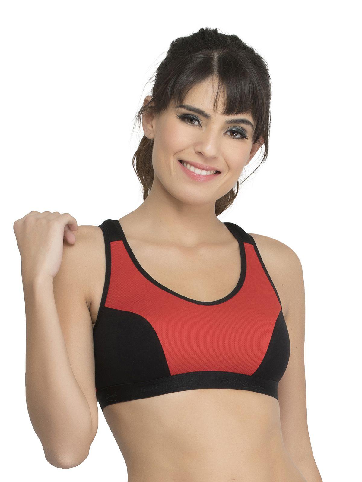 College Girl Cotton Sports Bra - Red