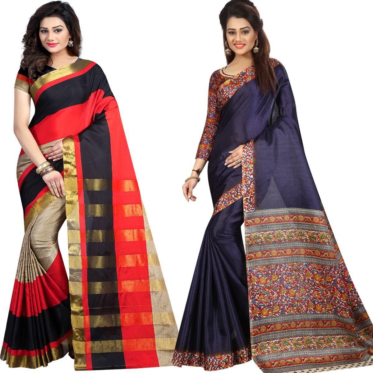 Mastani Multicoloured Cotton Silk Saree Combos