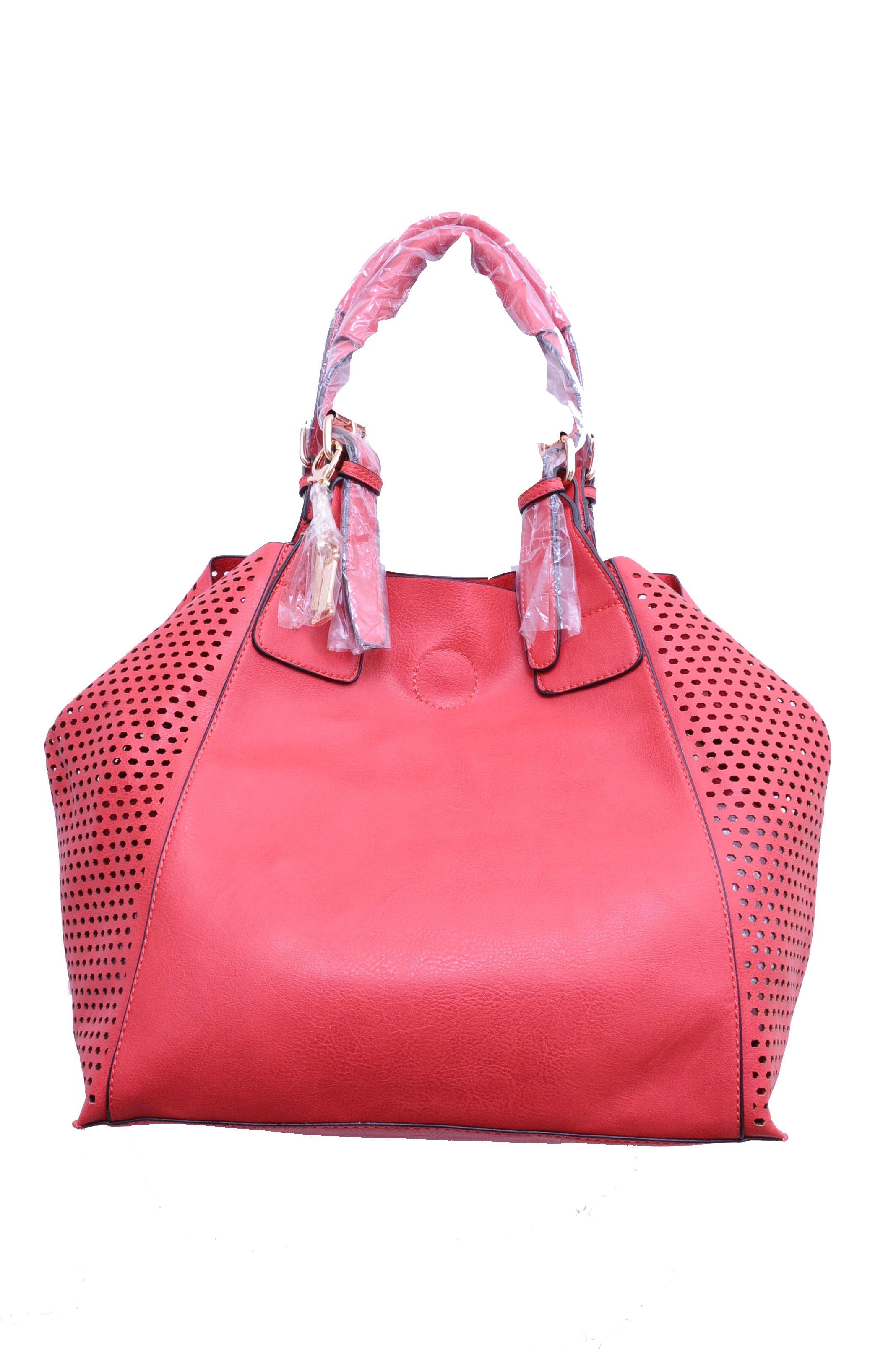 Thais Red Faux Leather Shoulder Bag