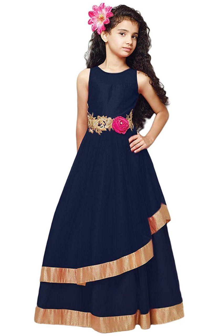 5bba7fd21 Cartyshop Girl s Navy Blue Net Embroidery Anarkali Flared ReadyMade PartyWear  Kids Gown Dresses - Buy Cartyshop Girl s Navy Blue Net Embroidery Anarkali  ...