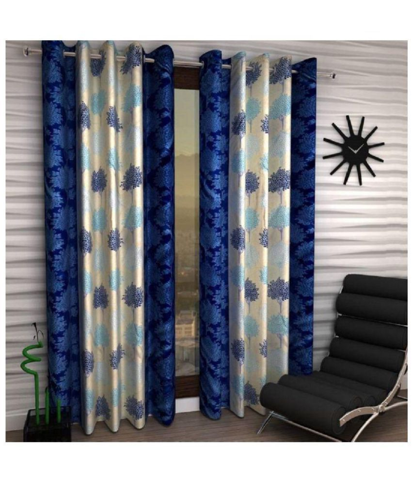 Tanishka Fabs Set of 4 Window Eyelet Curtains Floral Blue