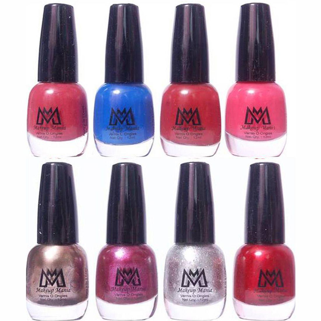 Makeup Mania Premium Set of 8 Trendy Nail Polish Brown Blue Shiny Purple & Red Glossy 96 ml