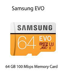 Samsung EVO 64 GB Micro SDXC Class 10 100 MB/s (With SD Adapter)