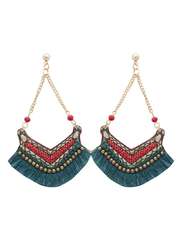 Jaipur Green tassel with red & bronze pellets danglers