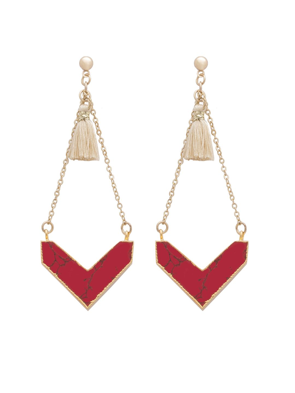 Jaipur Red stone & cream tassel stylish earrings