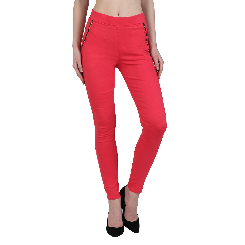 Makxziya Cotton Lycra Jeggings - Red