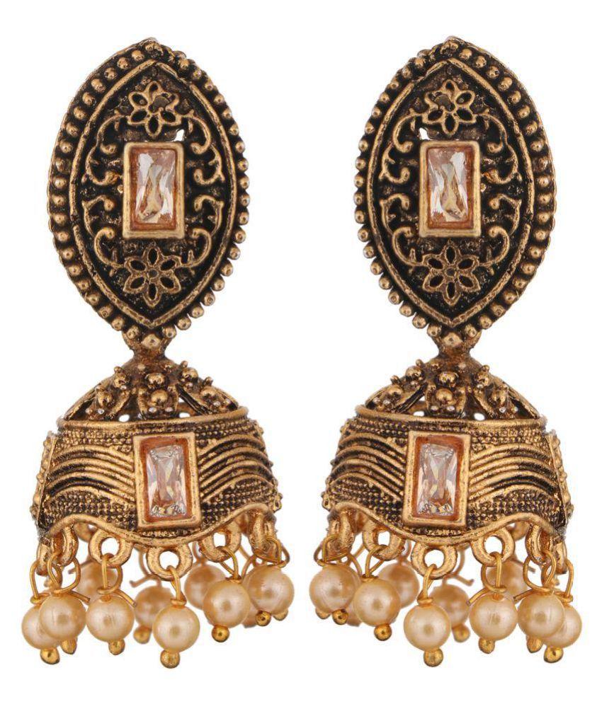 Adorn Designer Gold Oxodised Jhumki & Stud Earrings For Women/Girls